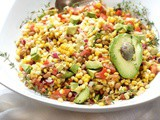 Corn Avocado Salad, Tomato, Black Eyed Peas and Four-Minute Corn on the Cob