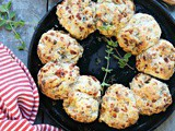 Italian Style Sausage Mozzarella Stuffed Biscuits with Garlic Herb Butter