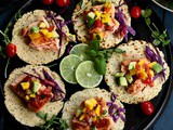 Pan-Seared Salmon Tacos with Tomato Mango Salsa