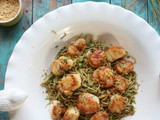 Seared Scallops, Edamame Pasta (Low Carb)