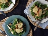 Pear & Arugula Salad with Candied Walnuts & Cheese Croutons
