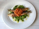 Fried Sardines with Tomato-Garlic-Anchovy Sauce and Arugula