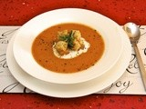 Roasted Tomato & Potato Soup w/ Herbes de Provencew/ Buttered Rosemary Croutons