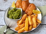 "Beer battered halloumi with chips and ""mushy"" peas"
