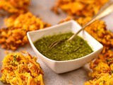 Cabbage, coconut and cumin pakora with coriander relish