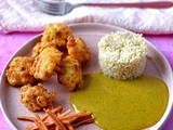 Cauliflower tempura with pickled ginger and coconut curry sauce