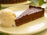 Chocolate and smoked salt tart with bay leaf ice cream