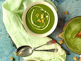 Leek, broccoli and chard soup with thyme croutons