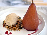 Poached pears with pecan granola and miso ice cream