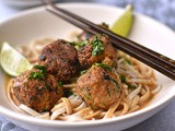 Thai-style aubergine and shiitake balls with peanut sauce