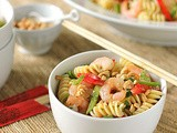 Asian Pasta Salad with Shrimp, Red Pepper, and Honey Roasted Peanuts