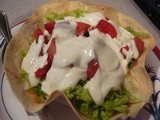 Hot Chicken Taco Salad in a Crisp Flour Tortilla