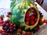 Shark Centerpiece Filled with Fruit.  Perfect for Kids Parties