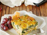 Ham & Cheese Breakfast Casserole with Spinach