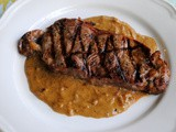 Grilled Steak with Onion Blue Cheese Sauce