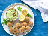 Baked Salmon Meatballs with Spicy Avocado Dip