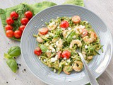 Pesto Zucchini Noodles with Shrimps and Feta