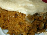 Pumpkin apple cake with nutmeg frosting
