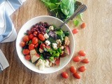 Adzuki Beans Salad with Greens, Cherry Tomatoes, Pears and Cheese