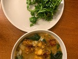Hearty Fava and Kale Soup with Polenta Croutons (Instant Pot)