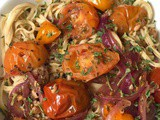 Roasted Tomatoes with Soybean Spaghetti