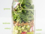 Fresh and Springy Walnut, Radish and Apple Salad-Mason Jar Salad