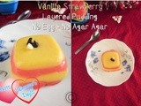 Vanilla strawberry layered pudding - no egg no agar agar i egg less custard pudding i valentine's day recipes