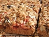 Peanut Butter and Strawberry Jam Oatmeal Square