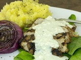Grilled Balsamic Steak with Bleu Cheese Sauce