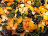 Pan fried pumpkin, carrots, parsnip, cavalo nero and pancetta