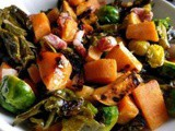 Stir fry with Head of Brussels sprout, sweet potatoes, turnip and pancetta
