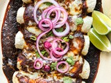 Heirloom Bean and Poblano Enchiladas with Guajillo Sauce