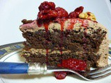 Walnut Dark Chocolate Cake with Raspberry